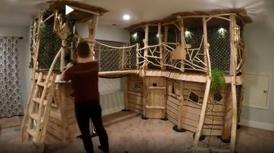 Dad-of-four takes building indoor treehouse for his kids