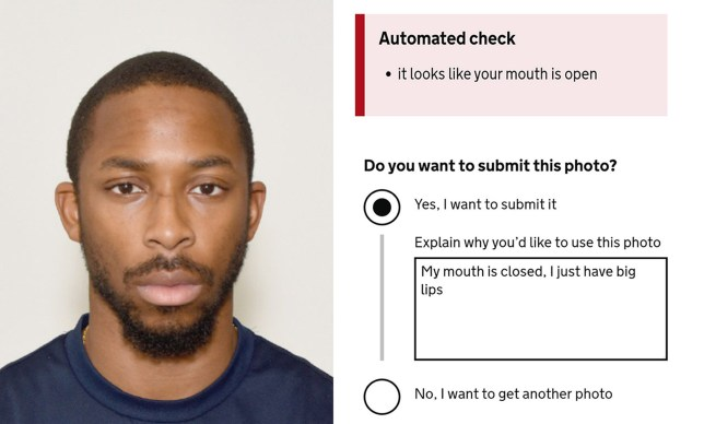 Undated handout screengrab of Joshua Bada's online passport application form. The Passport Office's automated online system criticised for failing to work properly on some black people's faces. PA Photo. Issue date: Thursday September 19, 2019. The facial detection system informs people when it thinks the photo uploaded may not meet strict requirements, which include a plain expression and the mouth to be kept closed. See PA story TECHNOLOGY Passports. Photo credit should read: Joshua Bada/PA Wire NOTE TO EDITORS: This handout photo may only be used in for editorial reporting purposes for the contemporaneous illustration of events, things or the people in the image or facts mentioned in the caption. Reuse of the picture may require further permission from the copyright holder.