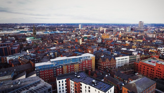 Leicester city center aerial view.; Shutterstock ID 1147617965; Purchase Order: -