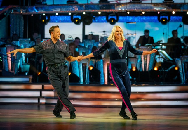 Kevin Clifton and Anneka Rice performing the cha cha on Strictly Come Dancing 2019