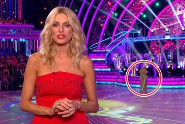 Tess Daly presents Strictly Come Dancing, with a mysterious-shaped prop in the background