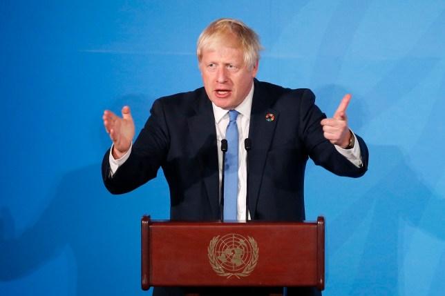 Britain's Prime Minister Boris Johnson at the UN Headquarters