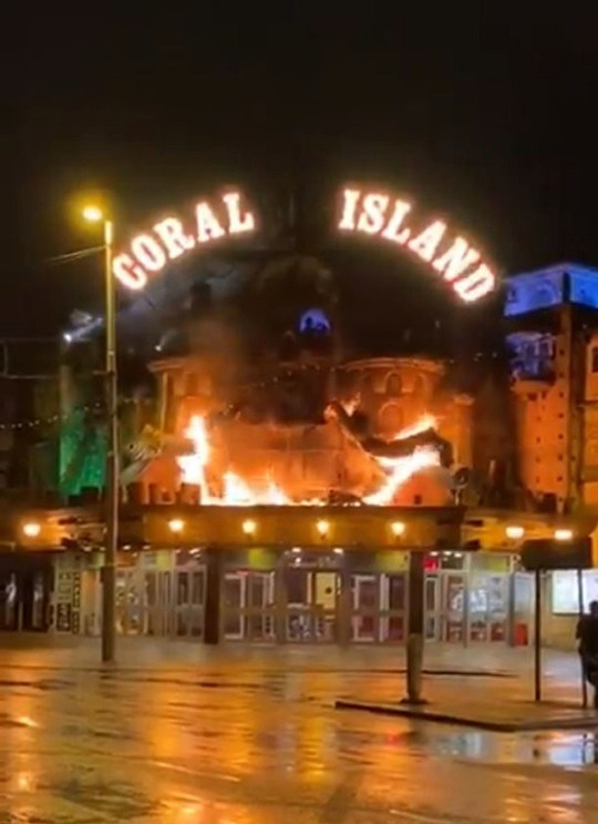 fire ripping through the front of the Coral Island amusement arcade in Blackpool. No-one was injured in the blaze on Tuesday evening