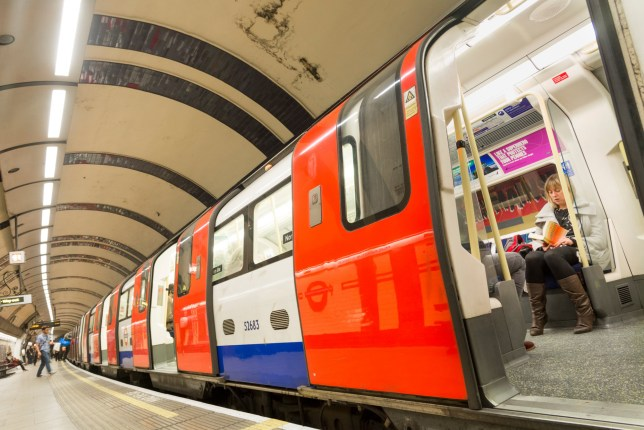 Northern line London Underground train at station, England, UK