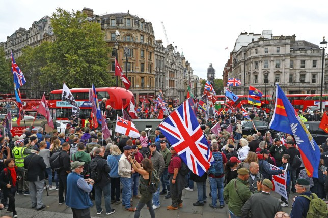 Demonstrators gather in Trafalgar Square, London as part of a 'Rolling Thunder' protest for Soldier F. PRESS ASSOCIATION Photo. Picture date: Saturday September 28, 2019. The unidentified veteran, known only as Soldier F, is the only person from the 1st Battalion Parachute Regiment ever to face trial for the deaths of 13 civil rights protestors and one passerby in Londonderry in January 1972. See PA story PROTEST SoldierF. Photo credit should read: Aaron Chown/PA Wire