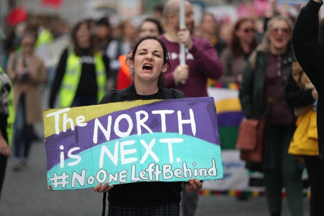 Protesters during an abortion rights campaign march in Dublin. PA Photo. Picture date: Saturday September 28, 2019. See PA story Politics Abortion Ireland. Photo credit should read: Niall Carson/PA Wire