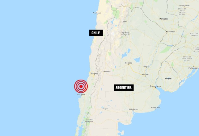 Location of 7.2 earthquake which hit coast of Chile