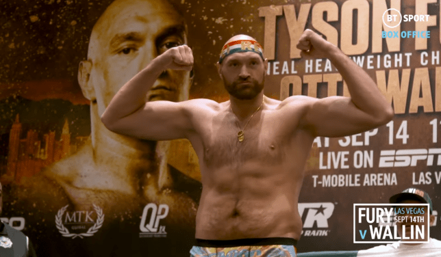 Tyson Fury is the lightest he has been since 2015 (Picture: BT Sport)