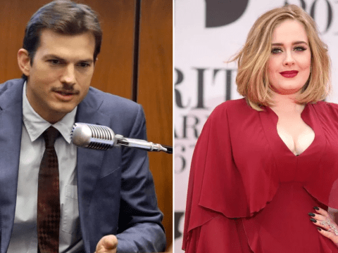 Ashton Kutcher's moustache is giving Bradley Cooper a run for his money and he's blaming Adele