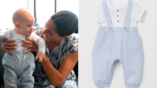 Archie in the dungarees and the image from the H&M website