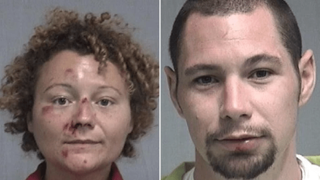 Mugshots of Megan Mondanaro and Aaron Thomas