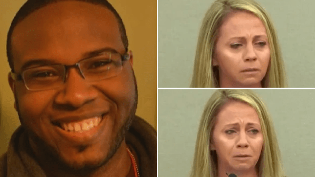 Photo of Botham Jean next to screengrabs of Amber Guyger breaking down in court