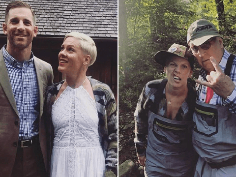 We want in on Pink's adorable family reunion as star gathers adorable kids, husband Carey and goes fishing
