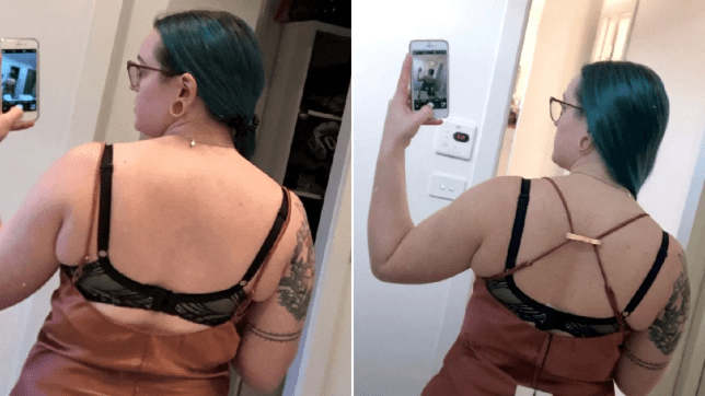 Before and after she used a hirclip to fix her dress