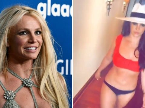 Britney Spears shows off catwalk skills in bikini and heels as you do