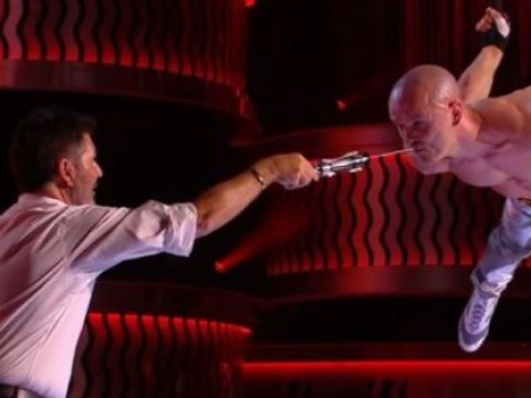 Simon Cowell horrified as he pulls sword from act Alex Magala's mouth on Britain's Got Talent