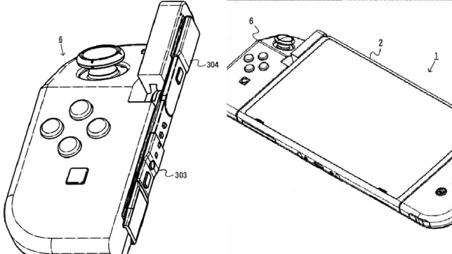 A patent with a new bendable Joy-Con and two bendable Joy-Cons attached to a Nintendo Switch