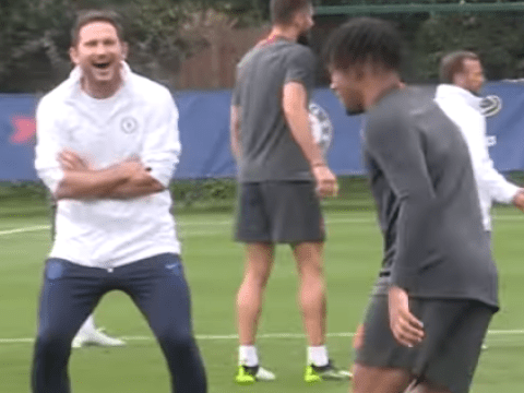 Frank Lampard in stitches as Tammy Abraham and Reece James are nutmegged in Chelsea training