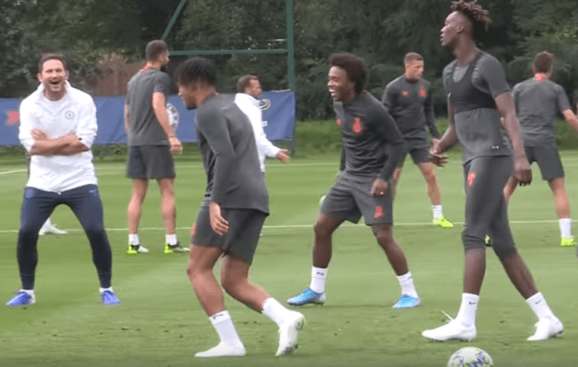 Frank Lampard was in hysterics as both Reece James and Tammy Abraham were nutmegged in Chelsea training ahead of their Champions League clash with Valencia