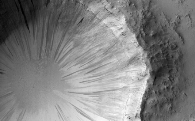 This striking black and white image was captured by Nasa's Mars Reconnaissance Orbiter (Photo: Nasa)