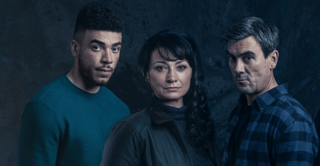 Cain, Moira and Nate in Emmerdale