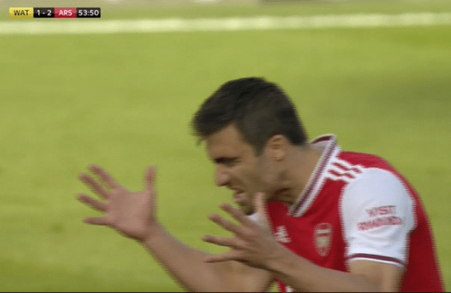 Sokratis reacts after committing a mistake for Arsenal against Watford