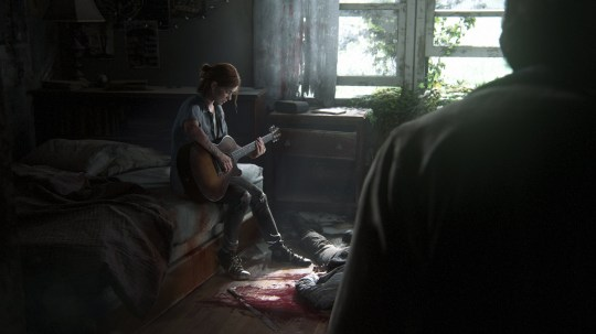 Ellie from The Last of us Part II playing guitar for Joel