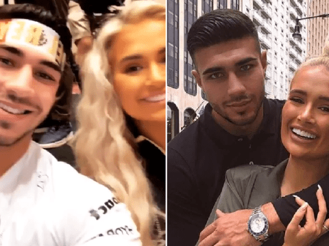 Love Island's Molly-Mae Hague and Tommy Fury support Tyson at boxing conference in Las Vegas