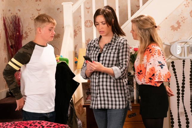Shona, Max and Sarah in Coronation Street