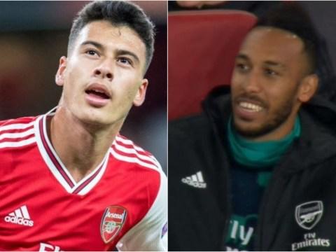 Arsenal fans love Pierre-Emerick Aubameyang's reaction to Gabriel Martinelli's goals against Standard Liege