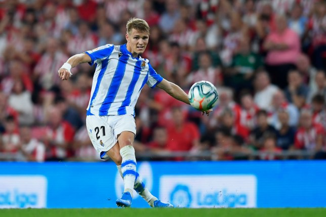 Martin Odegaard of Real Sociedad shooting to goal during the Liga match between Athletic Club and Real Sociedad at San Mames Stadium on August 30, 2019 in Bilbao, Spain. (Photo by Jose Breton/Pics Action/NurPhoto via Getty Images)