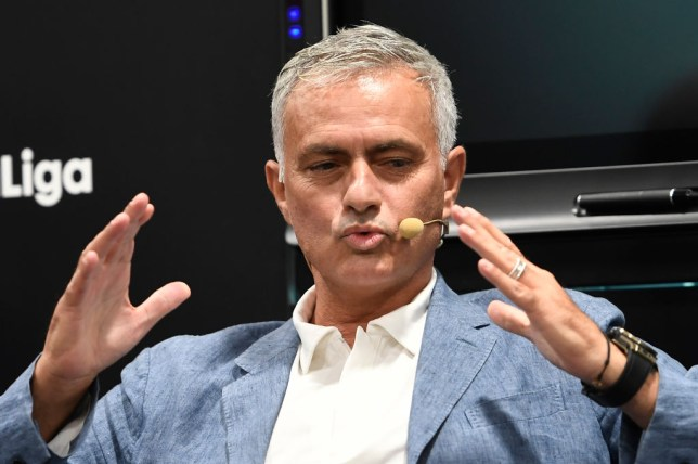 Jose Mourinho speaks to media at a conference on football