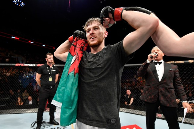 COPENHAGEN, DENMARK - SEPTEMBER 28: Jack Shore of Wales celebrates his submission victory over Nohelin Hernandez in their bantamweight bout during the UFC Fight Night event at Royal Arena on September 28, 2019 in Copenhagen, Denmark. (Photo by Jeff Bottari/Zuffa LLC/Zuffa LLC via Getty Images)