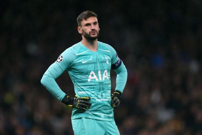 Hugo Lloris looks exasperated during Tottenham's defeat to Bayern Munich