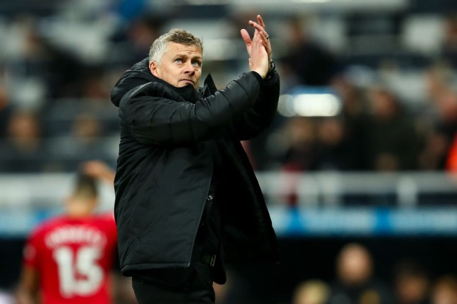 NEWCASTLE UPON TYNE, ENGLAND - OCTOBER 06: Ole Gunnar Solskjaer the head coach / manager of Manchester United applauds the fans at full time during the Premier League match between Newcastle United and Manchester United at St. James Park on October 6, 2019 in Newcastle upon Tyne, United Kingdom. (Photo by Robbie Jay Barratt - AMA/Getty Images)