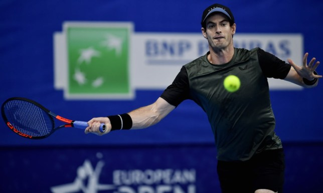 Andy Murray hits a forehand during his win over Kimmer Coppejans in Antwerp