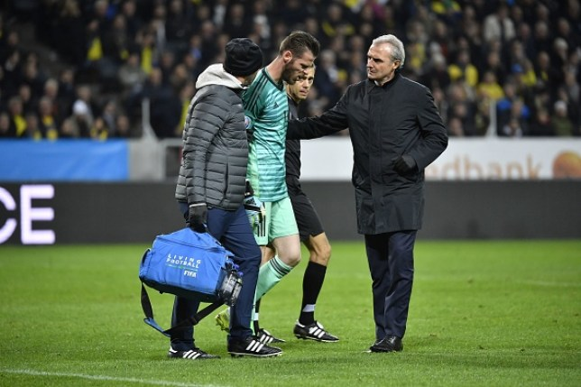 Man Utd goalkeeper David de Gea hobbled off the field in Spain's clash with Sweden