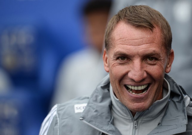 Leicester manager Brendan Rodgers smiles