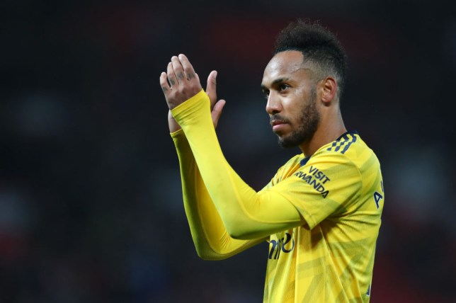 MANCHESTER, ENGLAND - SEPTEMBER 30: Pierre-Emerick Aubameyang of Arsenal shows his appreciation to the fans after the Premier League match between Manchester United and Arsenal FC at Old Trafford on September 30, 2019 in Manchester, United Kingdom. (Photo by Catherine Ivill/Getty Images)