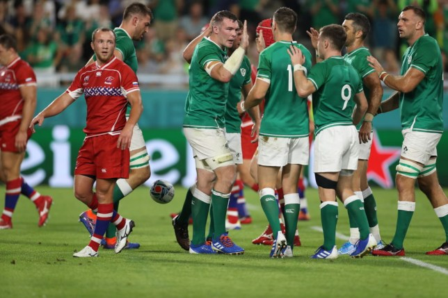 KOBE, JAPAN - OCTOBER 03: Peter O'Mahony of Ireland celebrates with teammates after scoring his team's second try during the Rugby World Cup 2019 Group A game between Ireland and Russia at Kobe Misaki Stadium on October 03, 2019 in Kobe, Hyogo, Japan. (Photo by Francois Nel - World Rugby/World Rugby via Getty Images)