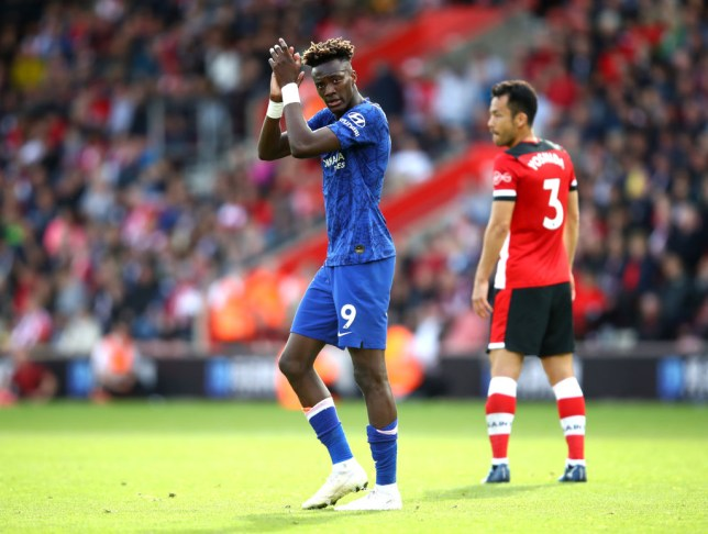 Tammy Abraham applauds Chelsea's fans after the win against Southampton