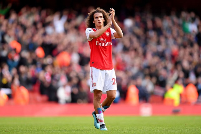 Matteo Guendouzi applauds Arsenal's supporters after the 1-0 win against Bournemouth