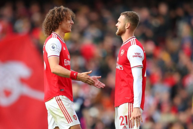 David Luiz and Calum Chambers have a chat after Arsenal's win against Bournemouth