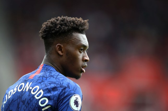 Callum Hudson-Odoi watches on during Chelsea's 4-1 win over Southampton