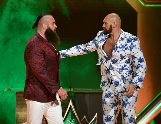 LAS VEGAS, NEVADA - OCTOBER 11: WWE wrestler Braun Strowman (L) and heavyweight boxer Tyson Fury attend the announcement of their match at a WWE news conference at T-Mobile Arena on October 11, 2019 in Las Vegas, Nevada. Strowman will face Fury and WWE champion Brock Lesnar will take on former UFC heavyweight champion Cain Velasquez at the WWE's Crown Jewel event at Fahd International Stadium in Riyadh, Saudi Arabia on October 31. (Photo by Ethan Miller/Getty Images)