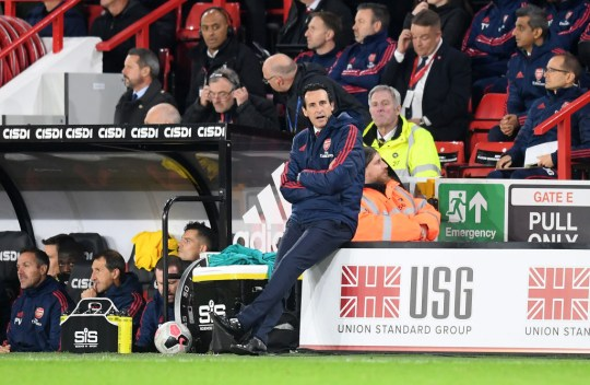 Unai Emery looks on during Arsenal's defeat against Sheffield United