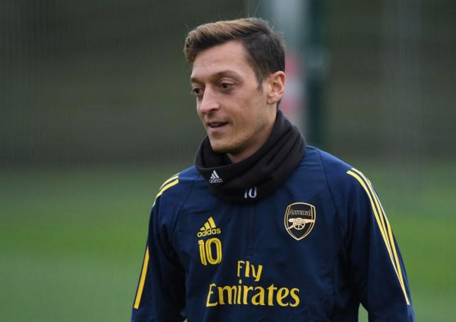 Mesut Ozil during Arsenal training at London Colney