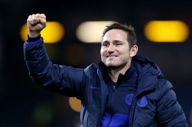 Frank Lampard celebrates after Chelsea's 4-2 victory against Burnley