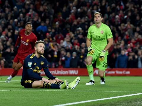 Shkodran Mustafi mocked by Arsenal hero Alan Smith after shocking own goal during Liverpool clash