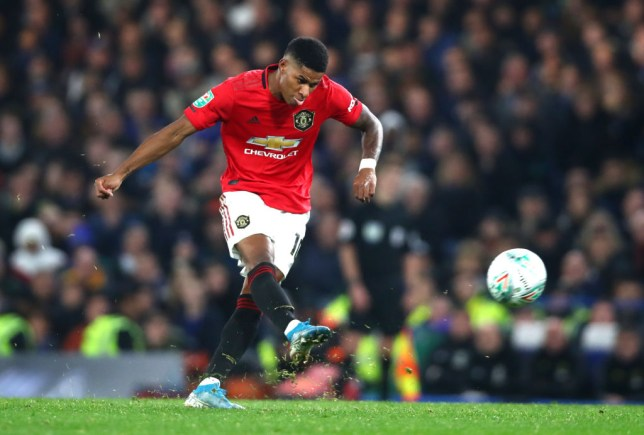 Marcus Rashford scores from a free-kick during Manchester United's win against Chelsea